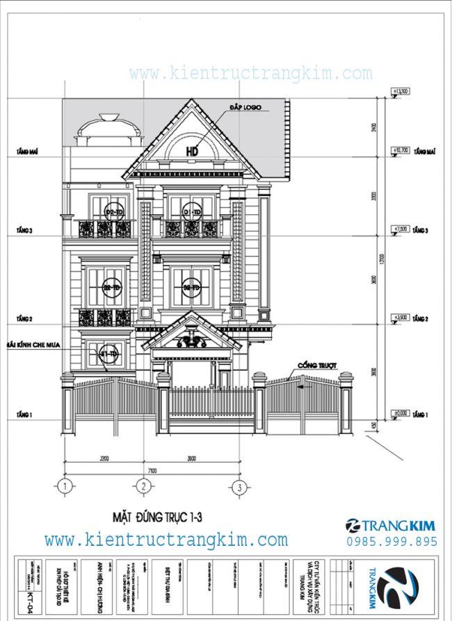 Mặt đứng về tỉ lệ kiến trúc trong thiết kế biệt thự tân cổ điển 3 tầng 1
