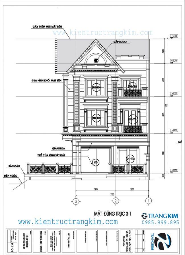 Mặt đứng về tỉ lệ kiến trúc trong thiết kế biệt thự tân cổ điển 3 tầng 2