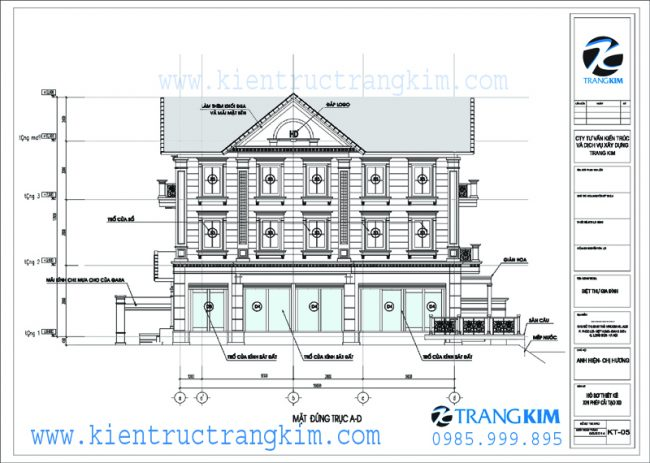 Mặt đứng về tỉ lệ kiến trúc trong thiết kế biệt thự tân cổ điển 3 tầng 3