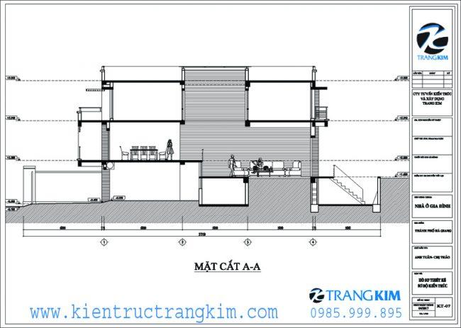 Mặt đứng, mặt cắt kiến trúc biệt thự hiện đại 8x20m 2