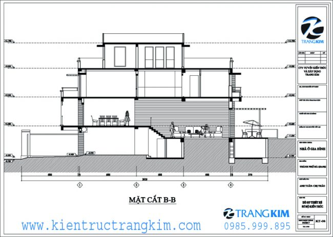 Mặt đứng, mặt cắt kiến trúc biệt thự hiện đại 8x20m 3