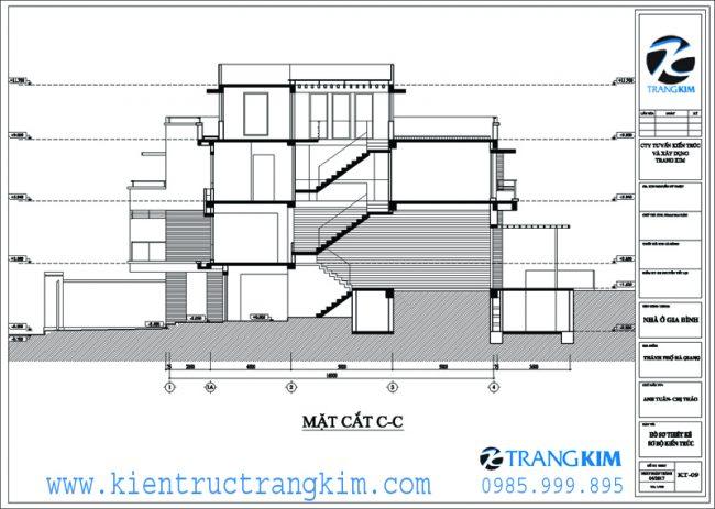Mặt đứng, mặt cắt kiến trúc biệt thự hiện đại 8x20m 4