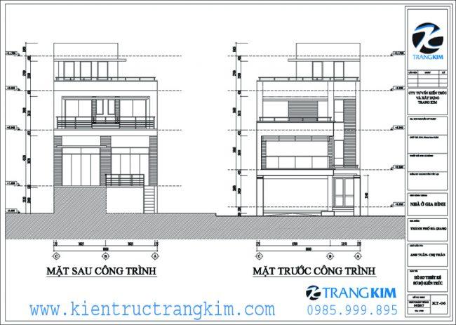 Mặt đứng, mặt cắt kiến trúc biệt thự hiện đại 8x20m 1