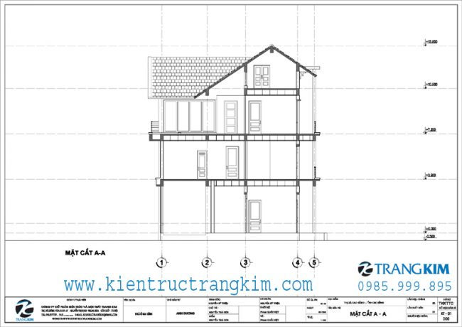 Mặt cắt thiết kế biệt thự 3 tầng mái thái hiện đại 1