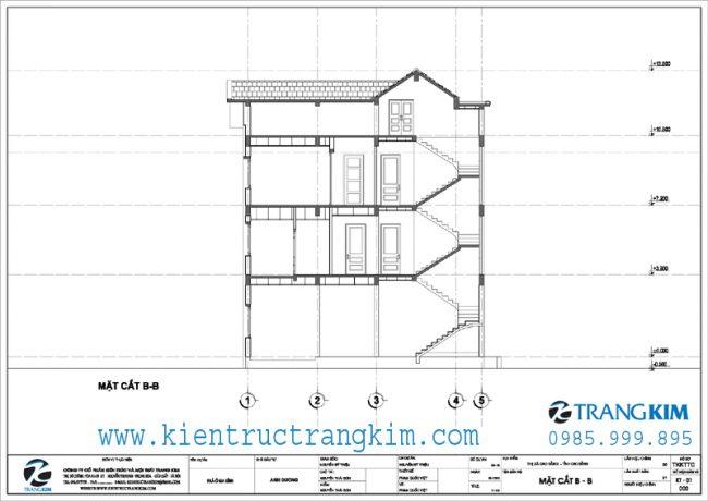 Mặt cắt thiết kế biệt thự 3 tầng mái thái hiện đại 2