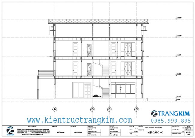 Mặt cắt thiết kế biệt thự 3 tầng mái thái hiện đại 3