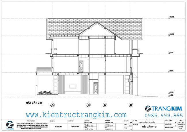 Mặt cắt thiết kế biệt thự 3 tầng mái thái hiện đại 4