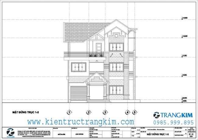 Mặt đứng thiết kế biệt thự 3 tầng mái thái hiện đại 1