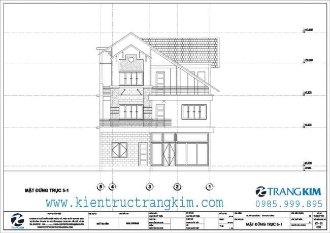 Mặt đứng thiết kế biệt thự 3 tầng mái thái hiện đại 2