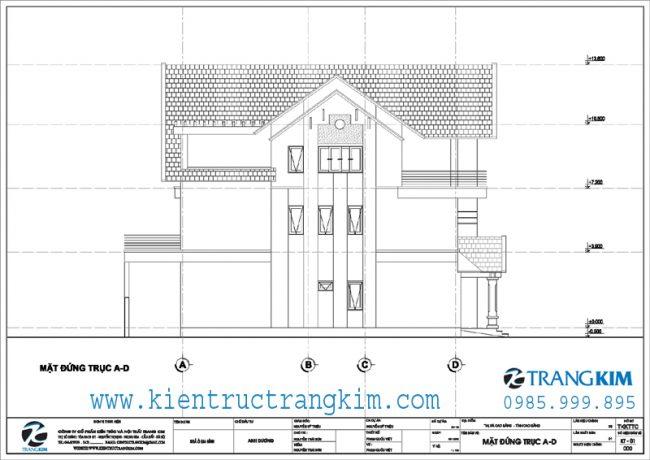 Mặt đứng thiết kế biệt thự 3 tầng mái thái hiện đại 4