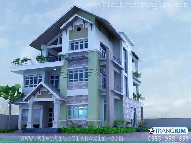 Phối cảnh thiết kế biệt thự 3 tầng mái thái hiện đại 1