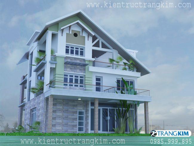 Phối cảnh thiết kế biệt thự 3 tầng mái thái hiện đại 2