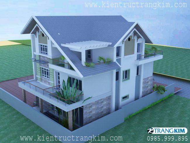 Phối cảnh thiết kế biệt thự 3 tầng mái thái hiện đại 3