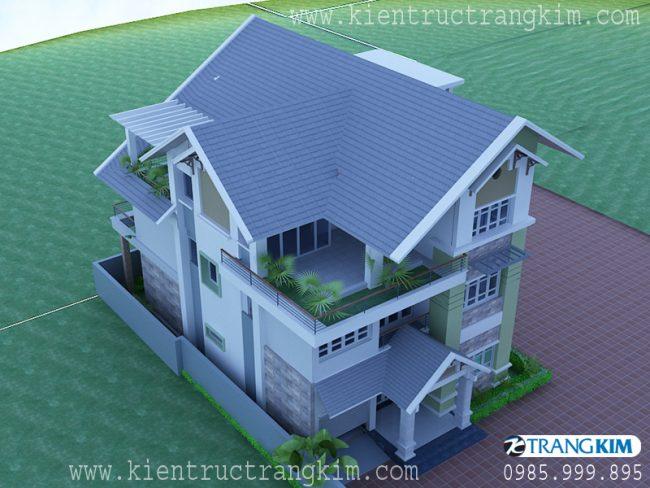 Phối cảnh thiết kế biệt thự 3 tầng mái thái hiện đại 4