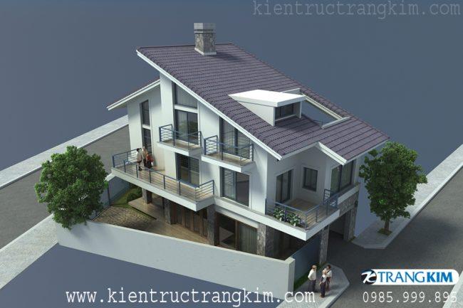 Phối cảnh thiết kế biệt thự hiện đại trên đất hình thang 1
