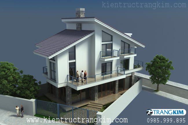 Phối cảnh thiết kế biệt thự hiện đại trên đất hình thang 3