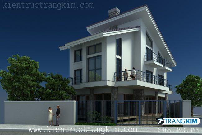 Phối cảnh thiết kế biệt thự hiện đại trên đất hình thang 4