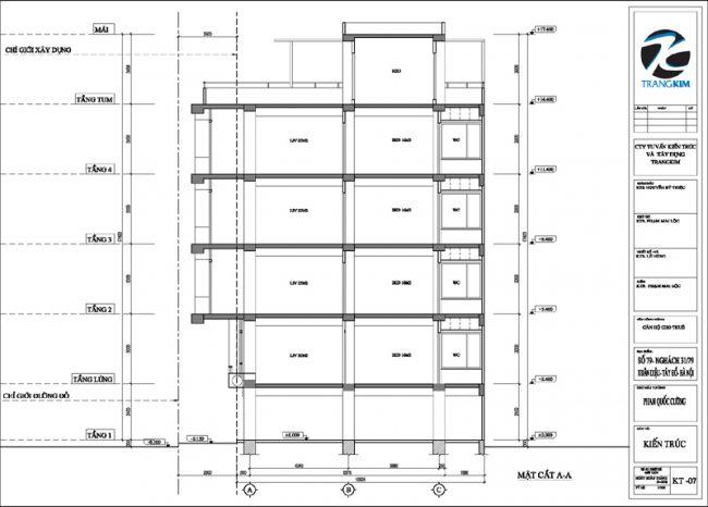 Mặt đứng, mặt cắt thiết kế nhà cho thuê trên đất hình bình hành 2