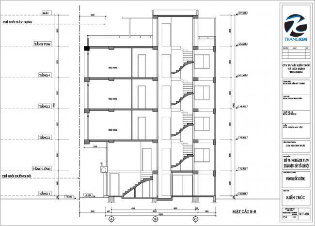 Mặt đứng, mặt cắt thiết kế nhà cho thuê trên đất hình bình hành 3