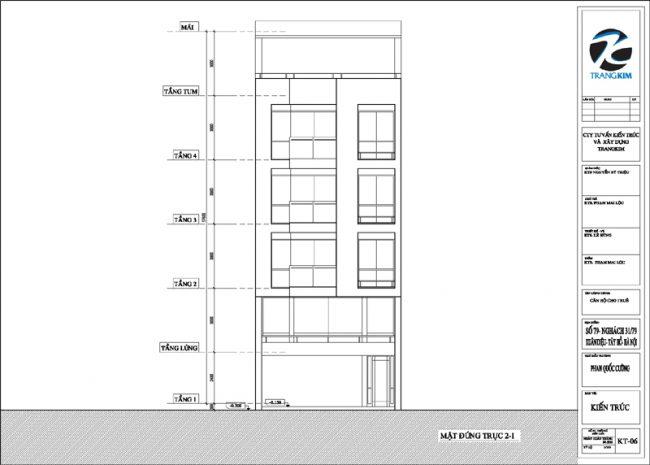 Mặt đứng, mặt cắt thiết kế nhà cho thuê trên đất hình bình hành 1